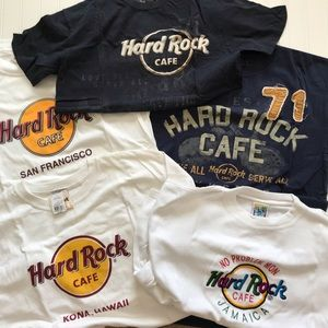 5 HARD ROCK CAFE Short Sleeve T Shirts!